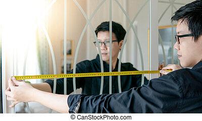 bande, asiatique, mesure, garde-robe, utilisation, homme
