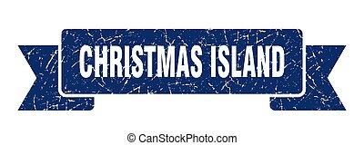 bande, bleu, ribbon., île, noël, signe, grunge