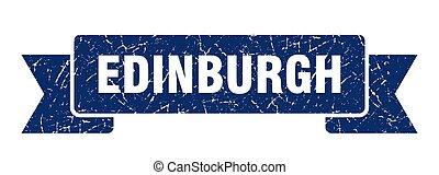 bande, bleu, ribbon., signe, edimbourg, grunge