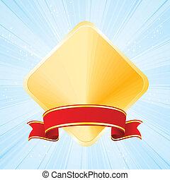 bande bleue, fond, doré, récompense