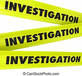 bande, crime, investigation, jaune, scène, police, mot
