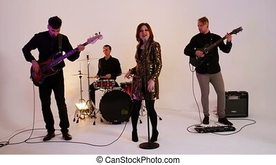 bande, doré, femme, -, musical, mûrir, chanson, gens, jouer,...