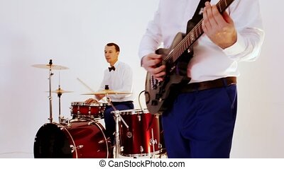 bande, -, enregistrement, batteur, jouer, guitariste,...