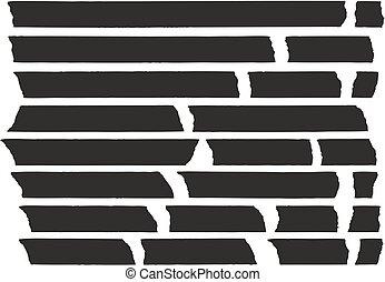 bande, ensemble, lignes, noir