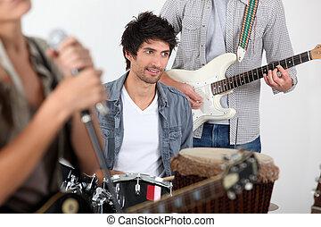bande, exécuter, musique