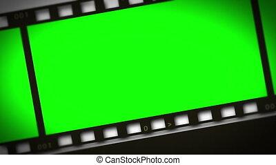 bande film, montage, vert