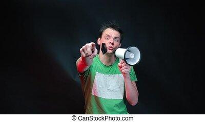 bande, homme, collant, porte voix, sien, parle, figure