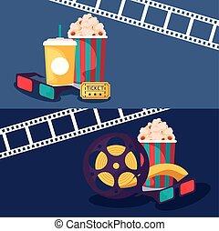 bande, icônes, ensemble, bobine, cinéma