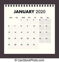 bande, janvier, fil, 2020, calendrier