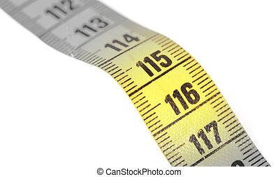 bande, jaune, isolé, mesurer, gros plan, -, 116, blanc