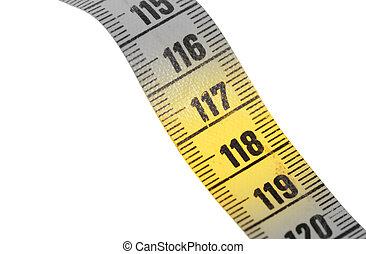 bande, jaune, isolé, mesurer, gros plan, -, blanc, 118