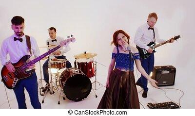 bande, jouer, chanson, clair, studio, musical