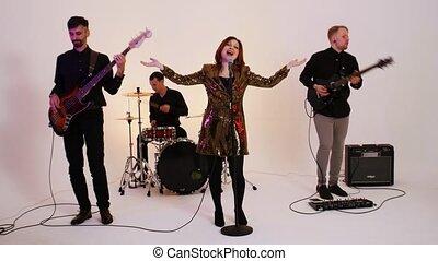 bande, jouer, chanson, gens, clair, quatre, studio, musical