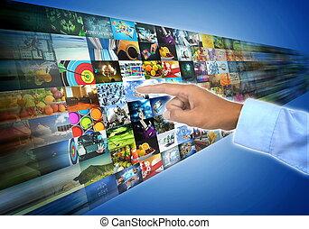 bande large, ruisseler, multimédia, internet, divertissement