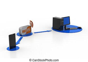 bande large, symbole, wifi, téléphone, informatique, relier, intelligent