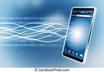 bande large, téléphone, intelligent, internet