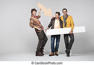 bande, mâle, amis, signes