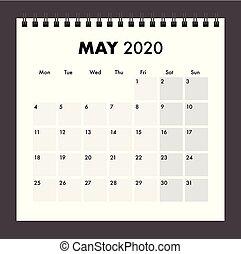 bande, mai, fil, 2020, calendrier