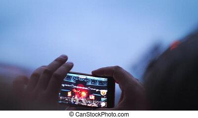 bande, moments, capturer, concert, favori, musique