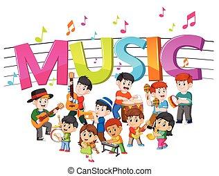 bande, mot, jouer, groupe, musique