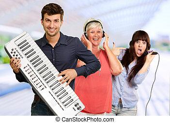bande, musical, famille