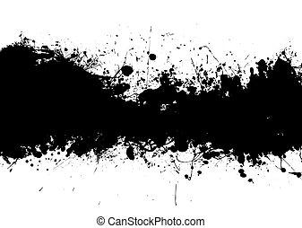 bande, noir, splat, encre