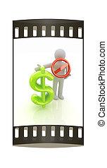 bande, prohibition, signe, dollar., homme, pellicule, 3d