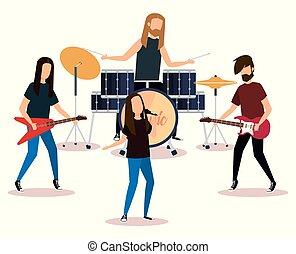 bande, rocher, jeu instruments