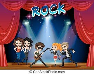 bande, rocher, jouer, étape