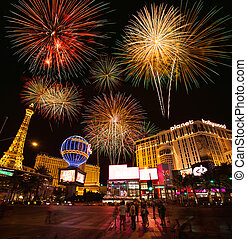bande, route, fond, feud'artifice, vegas, las