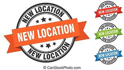 bande, set., emplacement, signe, étiquette, stamp., nouveau, rond