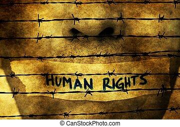 bande, sur, bouche, droits homme