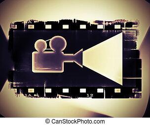 bande, vieux, pellicule, film, cadre