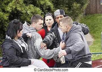 bande, von, jugend, kämpfen