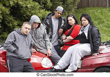 bande, von, jugend, sitzen, auf, autos