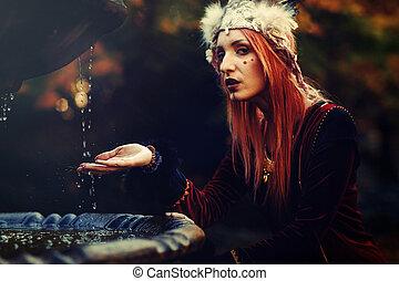 bandeau, shamanic, belle femme, nature.