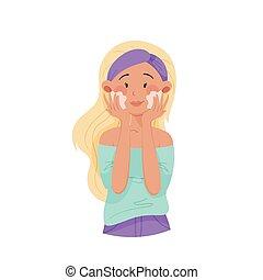bandeau, vecteur, jeune fille, ou, illustration, lavage, ...
