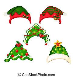 bandeaux, gros plan, ensemble, illustration., style, isolé, arrière-plan., vecteur, année, nouveau, chapeau blanc, dessin animé, noël