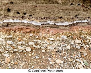 banded, geológico, sedimento, depositado, em, camadas