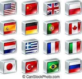 bandeira, ícones, botões