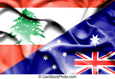 bandeira acenando, austrália, líbano