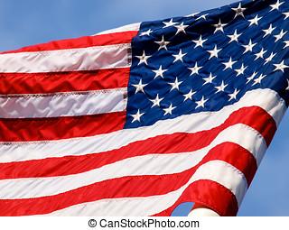 bandeira acenando, closeup, eua