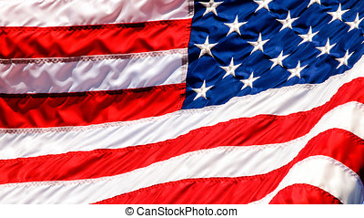 bandeira acenando, closup, eua