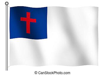 bandeira acenando, cristão