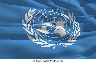 bandeira acenando, de, nações unidas