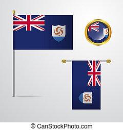 bandeira acenando, vetorial, desenho, anguilla, emblema