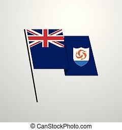 bandeira acenando, vetorial, desenho, fundo, anguilla