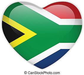 bandeira africa sul, coração, lustroso, botão
