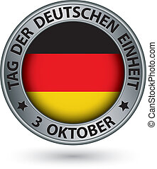 bandeira alemã, ilustração, etiqueta, unidade, vetorial, prata, dia