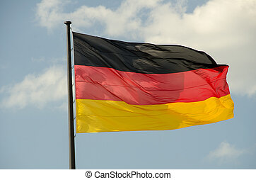 bandeira alemã, waving, berlim, reichstag, frente